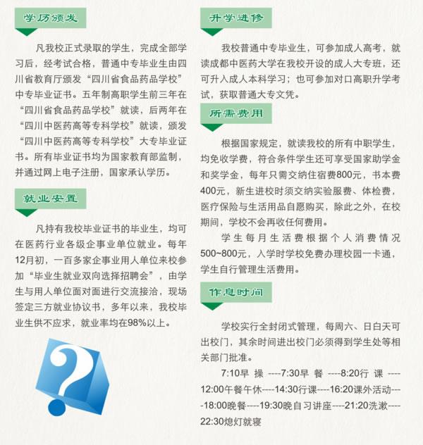 四川食品药品学校答考生问