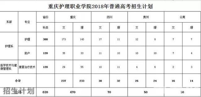 重庆护理职业学院招生计划